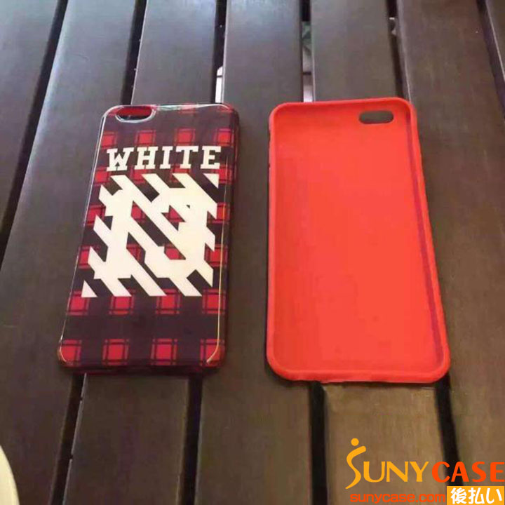 off white iPhone6 plusケース チェック柄